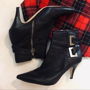 MICHAEL KORS Leather MK Silver Black Heel Bootie